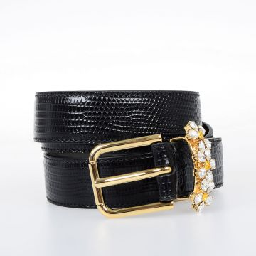 Leather Belt with Crystals 25 mm
