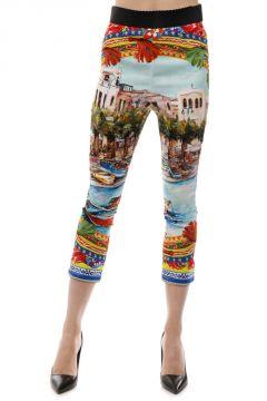 Pantaloni Seta Stretch Stampa Ceramica