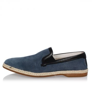 Leather Suede Slip On Loafer
