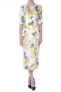 Lemon Printed Dress with Fringes