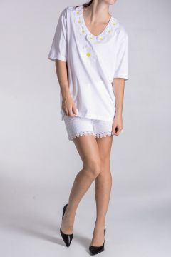 T-shirt In Cotone Jersey Con Margherite