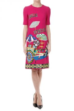 Italia Forever Embroidery Stretch Silk Dress