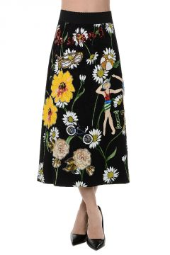 Cotton Blend Embroidered Jewel Skirt