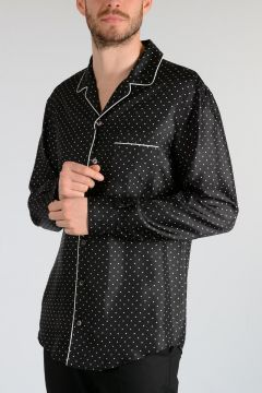 Polka Dot Silk Pajama Shirt