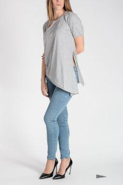 T-Shirt in Cotone con Dettagli in Seta