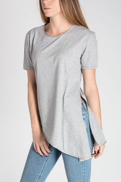 Cotton T-Shirt with Silk Details