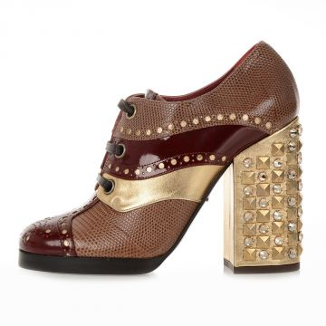 Heeled Lace Up Shoes in Iguana Skin