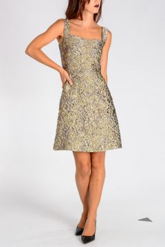 Floral Brocade Dress with Golden Inserts