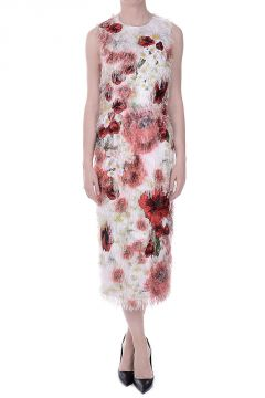 Floral Printed Fringed Dress with Embroideries