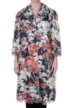 Floral Printed Fringed Coat