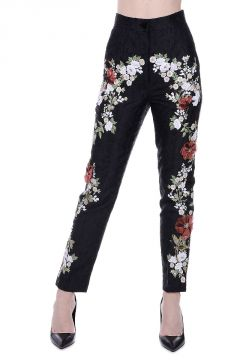 Embroidered Pants with Sequins