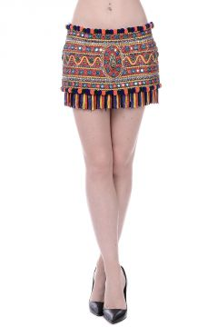 Embroidered Mini Skirt with Jewel Details