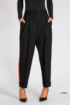 Stretch Virgin Wool Pants with Red Trims