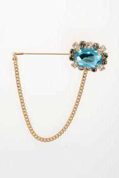Brass Crystal Brooch