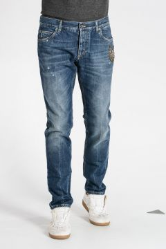 Jeans in Denim con Ricamo 17 cm