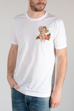 Cotton T-shirt with Stitched Embroidery