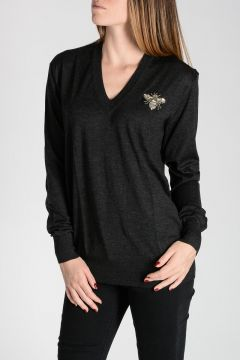 Cashmere Pullover with Embroidery and Crystals