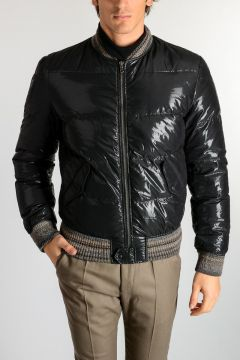 Down Padded Jacket with Knitted Details