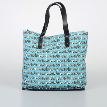 Floral Patterned Canvas & Leather Bag