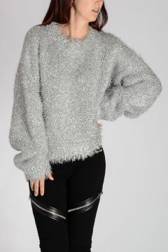 Silver Tone Long Sleeve Sweater