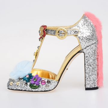 Glitter Leather Fiaba VALLY Shoes with Heel
