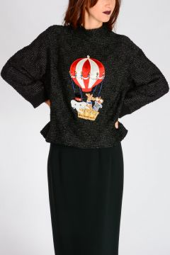 Cashmere Blend Sweater with Embroidery & Crystals