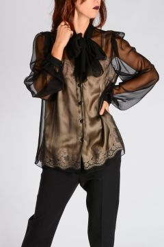 Bicolor Silk Blouse with Top