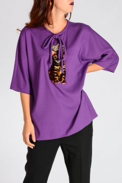 Stretch Viscose & Silk Blouse with Cat & Crystals