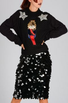 Wool and Cashmere Blend Knitted Sweater With Embroidery Sequins