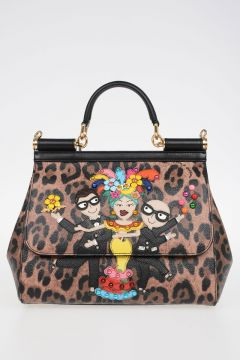 Leo Printed & Embroidered Leather Bag