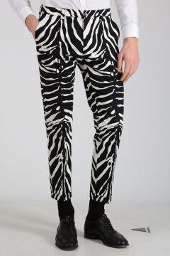 Stretch Cotton Zebra-Striped Pants