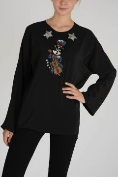 Silk Embroidered Top with Paillette