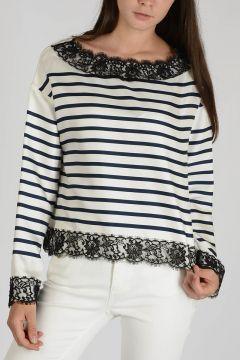 Silk Striped Laced Top