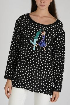 Mixed Silk Embroidered Top with Dots
