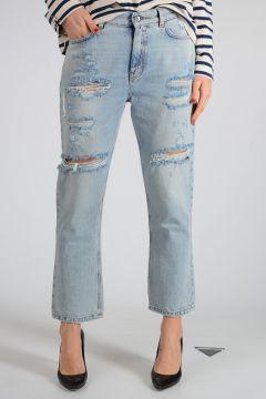 Jeans In Denim con Ricami 18cm
