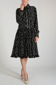 Mixed Silk Laced Dots Dress with Frill
