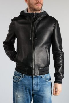 Leather Hooded Bomber Jacket