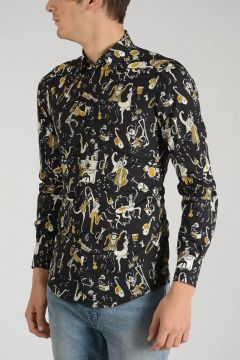 GOLD Cotton Shirt with Music Prints