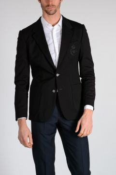 Blazer with Embroidered Breast Pocket