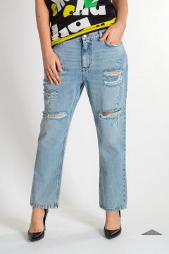 Jeans In Denim Con Ricamo 20cm