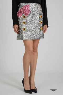 Embroidered Miniskirt with Bow and Strass