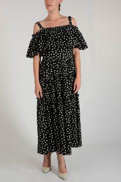 Stretch Cotton Dots Blouson Dress