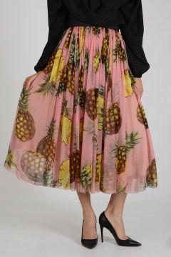 Silk Pineapple Print Long Skirt