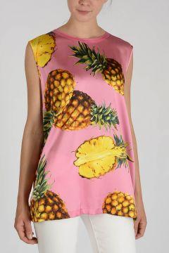 Stretch Silk Pineapple Printed Top