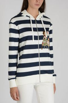 Striped Hoodie and Embroidered Sweatshirt