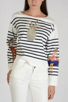 Striped Embroidered Top with Strass
