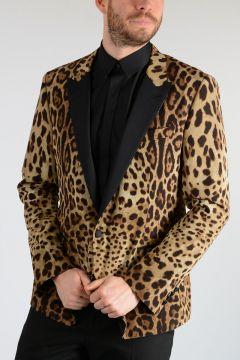 Leopard Printed Tuxedo Jacket