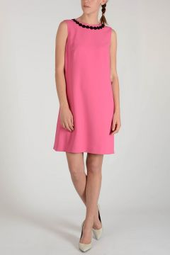 Neck Embroidered Dress