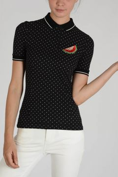 Embroidered Polo with Dots