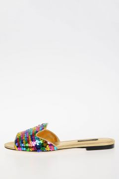 Leather Sequins  Slipper